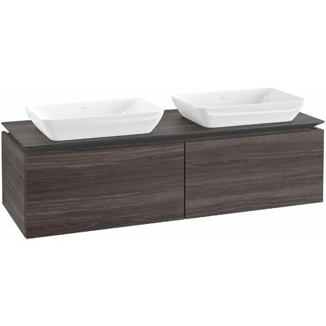 Mueble de lavabo Villeroy & Boch Legato B23400, 1400x380x500mm, 2 lavabos, color: Roble Grafito - B23400FQ