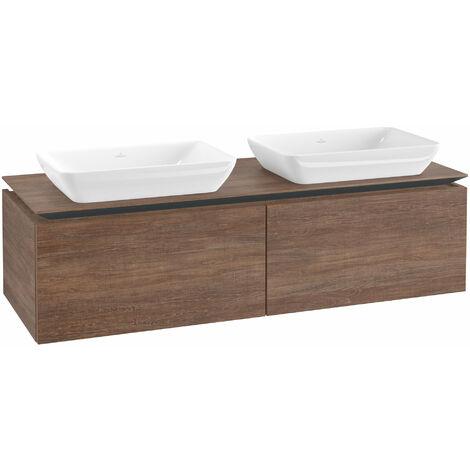 Mueble de lavabo Villeroy & Boch Legato B23400, 1400x380x500mm, 2 lavabos, color: Roble Santana - B23400E1