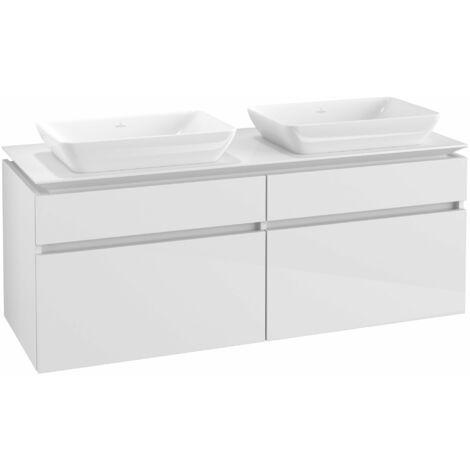 Mueble de lavabo Villeroy & Boch Legato B23500, 1400x550x500mm, 2 lavabos, color: Blanco brillante - B23500DH