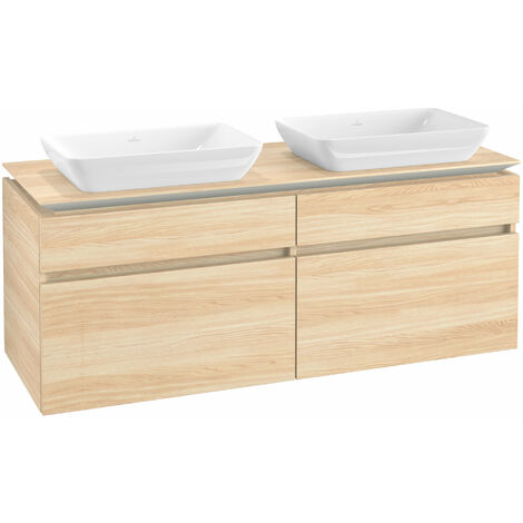 Mueble de lavabo Villeroy & Boch Legato B23500, 1400x550x500mm, 2 lavabos, color: Elm Impresso - B23500PN