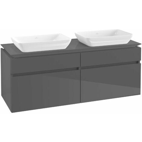Mueble de lavabo Villeroy & Boch Legato B23500, 1400x550x500mm, 2 lavabos, color: Gris brillante - B23500FP