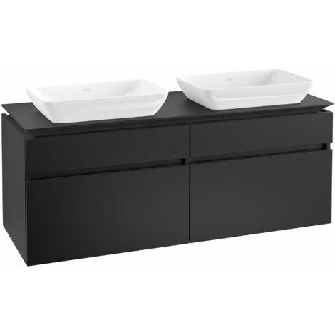 Mueble de lavabo Villeroy & Boch Legato B23500, 1400x550x500mm, 2 lavabos, color: Negro Mate Laca - B23500PD