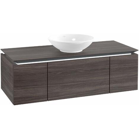Mueble de lavabo Villeroy & Boch Legato B243, 1200x380x500mm, lavabo céntrico, iluminación LED, color: Roble Grafito - B243L0FQ