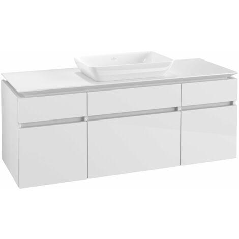 Mueble de lavabo Villeroy & Boch Legato B25800, 1400x550x500mm, lavabo céntrico, color: Blanco brillante - B25800DH