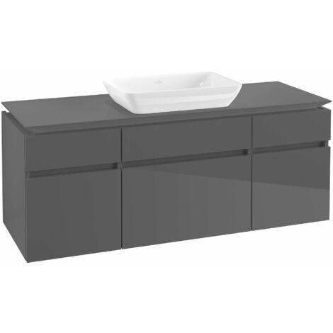 Mueble de lavabo Villeroy & Boch Legato B25800, 1400x550x500mm, lavabo céntrico, color: Gris brillante - B25800FP