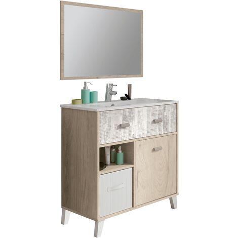 Mueble de lavabo vintage, lavabo incluido, cesta de bambú, espejo incluido, 90x82x47 cm(alto x ancho x profundo), color roble aurora, blanco y collage, colección Lena