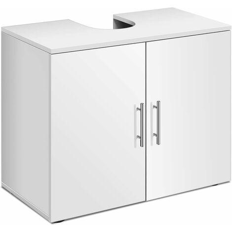 """main image of """"Mueble de Madera Bajo Lavabo para Baño con Estante y Puertas Armario de Suelo 68,5x35,5x58,5 cm Blanco"""""""