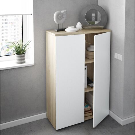 Mueble de oficina 119 cm Blanco mate y roble canadiense con dos puertas | color