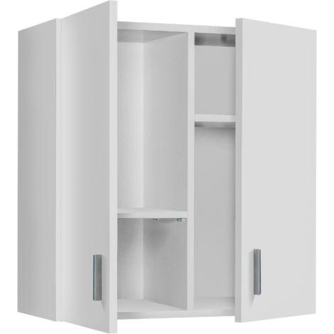 Mueble de pared multiusos blanco mate con 2 puertas y 2 estantes extraíbles | Blanco