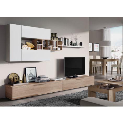 Mueble de pared para TV Panama 260 cm Roble canadiense y blanco brillante | color