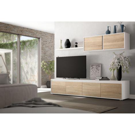 Mueble de pared para TV Zed 200 cm Blanco mate y roble canadiense   color