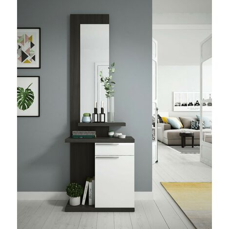 Mueble de recibidor 61x186H Blanco brillante y gris ceniza con espejo | Blanco brillante y gris ceniza