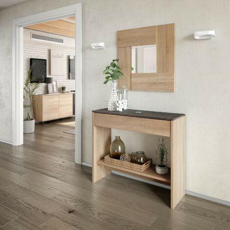 Mueble de recibidor 92x79H Óxido y Roble con cajón y espejo | óxido y roble canadian