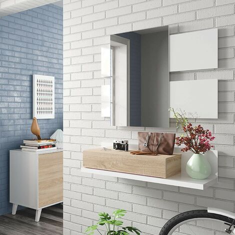 Mueble de recibidor blanco mate y roble canadiense con espejo | Blanco artik e Roble canadian