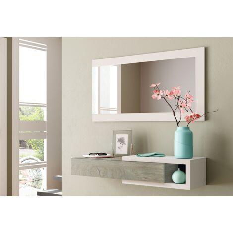 Mueble de recibidor Blanco mate y Roble con cajón y espejo | roble y blanco