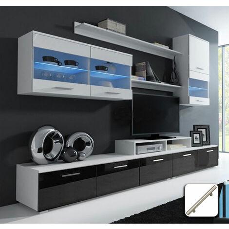 Mueble de salón Arizona blanco y negro mod. 1 (Con tiradores de metal)