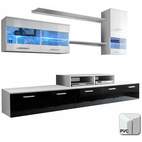 Mueble de salón Claudia blanco y negro mod. 1 (Con puertas de PVC)