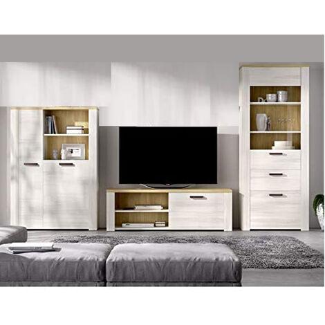 Mueble de salón Comedor, módulo TV + Aparador + Vitrina y estanteria, acabado Milan