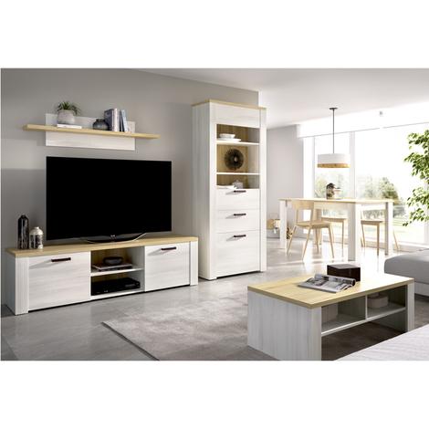 Mueble de salón Comedor, Mueble TV 2 puertas + Estante + Vitrina 2 puertas INCLUIDA Mesa de centro a juego