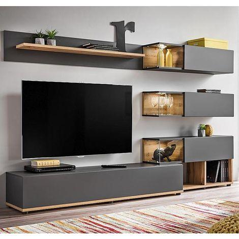 Mueble de salón modelo Odin color gris y roble (2,4m)