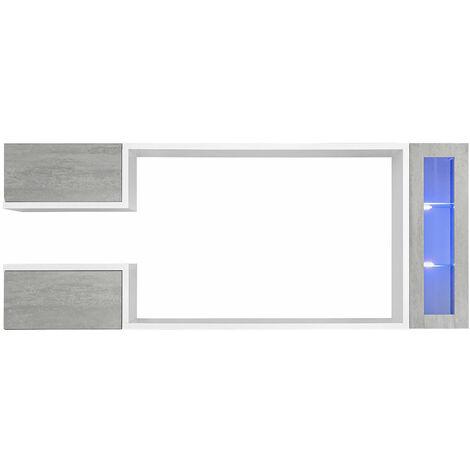 Mueble de salón modelo Urko color blanco y gris cemento (2,3m)