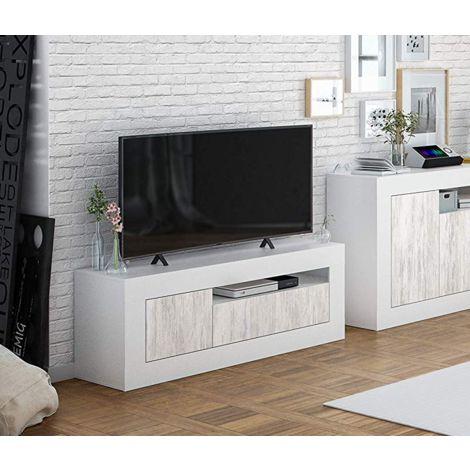 Mueble de salón para TV 139 cm blanco mate y antiguo con 2 puertas | Blanco