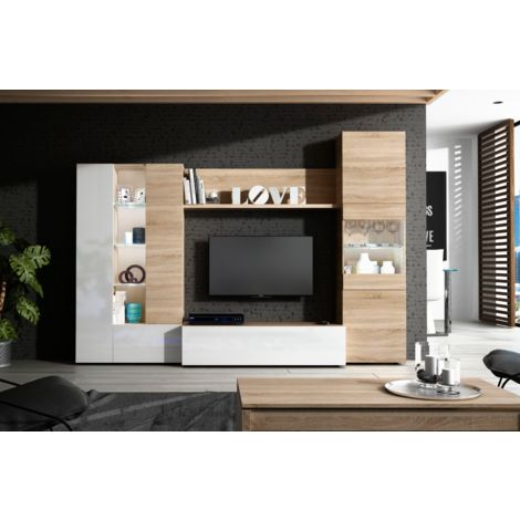 Mueble de salón para TV Essential 260 cm blanco brillante y roble claro | Roble claro