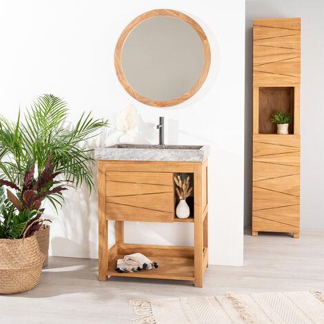 Mueble de teca maciza COSY 67 cm + lavabo gris