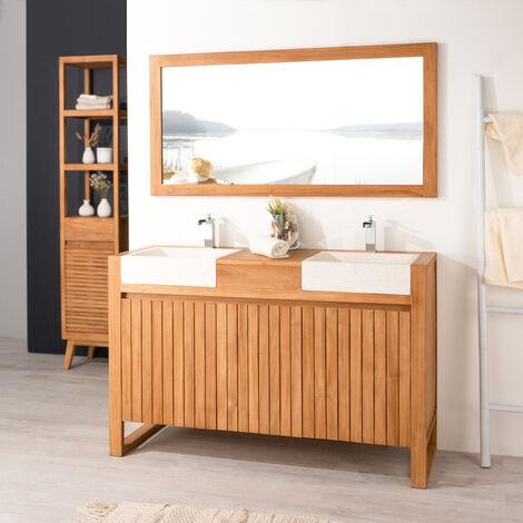 Mueble de teca y lavabos para cuarto de baño LUJO 140 crema