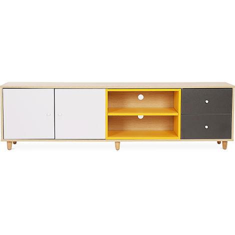 Mueble de televisión estilo escandinavo blanco y gris - Madera Multicolores
