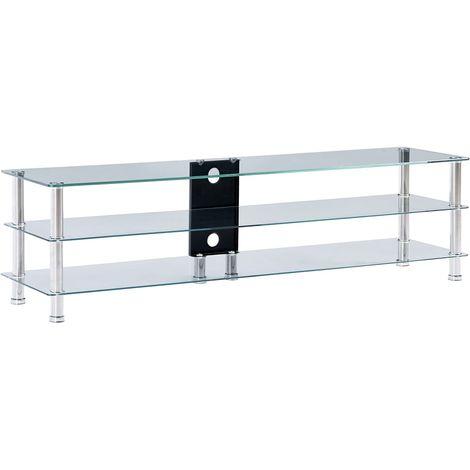 Mueble de televisor vidrio templado transparente 150x40x40 cm