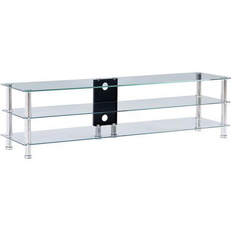 Mueble de televisor vidrio templado transparente 150x40x40 cm - Transparente