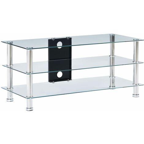 Mueble de televisor vidrio templado transparente 90x40x40 cm