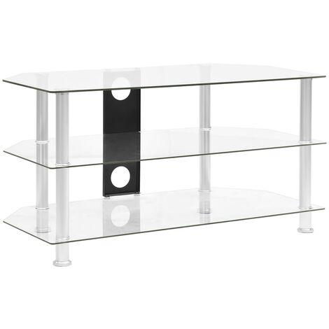 Mueble de televisor vidrio templado transparente 96x46x50 cm - Transparente