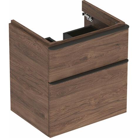 Mueble de tocador Geberit Smyle Square, 500352, 584x617x470mm, con 2 cajones, color: Estructura de madera de nogal / melamina - 500.352.JR.1