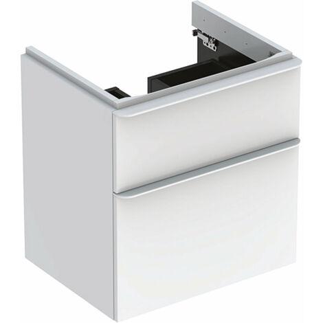 Mueble de tocador Geberit Smyle Square, 500352, 584x617x470mm, con 2 cajones, color: Laca blanca de alto brillo - 500.352.00.1