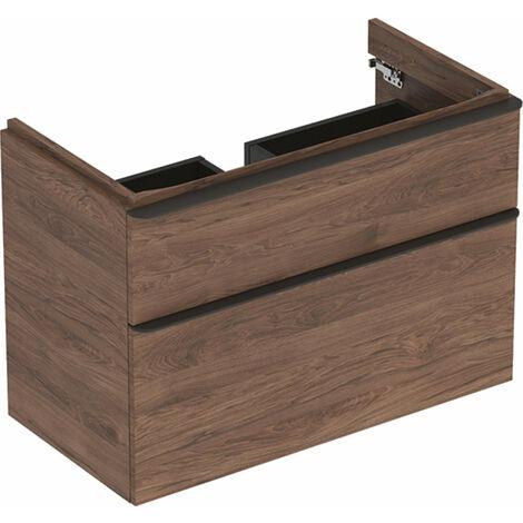 Mueble de tocador Geberit Smyle Square, 500354, 884x617x470mm, con 2 cajones, color: Estructura de madera de nogal / melamina - 500.354.JR.1