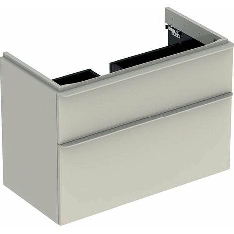Mueble de tocador Geberit Smyle Square, 500354, 884x617x470mm, con 2 cajones, color: Laca de alto brillo gris arena - 500.354.JL.1