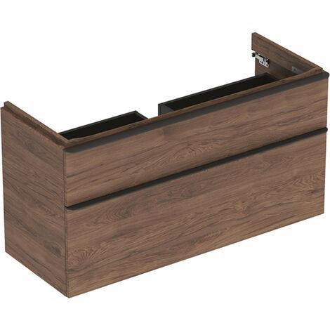 Mueble de tocador Geberit Smyle Square, 500.355., 1184x617x470mm, con 2 cajones, color: Estructura de madera de nogal / melamina - 500.355.JR.1