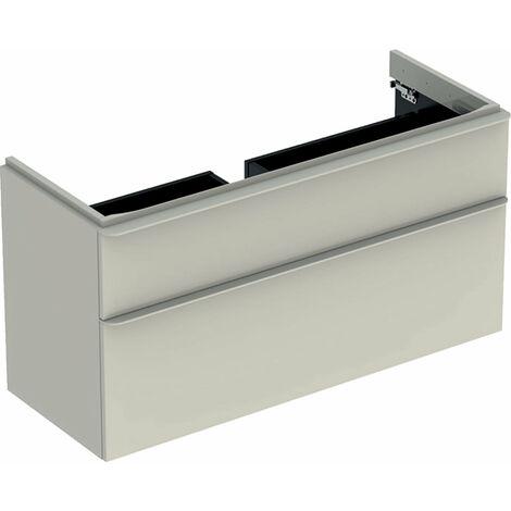 Mueble de tocador Geberit Smyle Square, 500.355., 1184x617x470mm, con 2 cajones, color: Laca de alto brillo gris arena - 500.355.JL.1