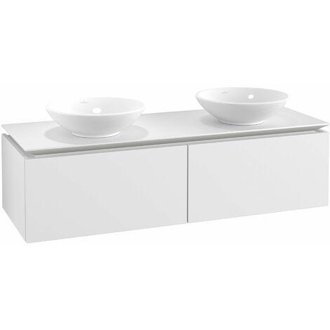 Mueble de tocador Villeroy & Boch Legato B142 1400x380x500mm, 2 lavabos, color: Blanco Mate - B14200MS