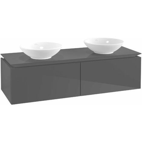 Mueble de tocador Villeroy & Boch Legato B142 1400x380x500mm, 2 lavabos, color: Gris brillante - B14200FP