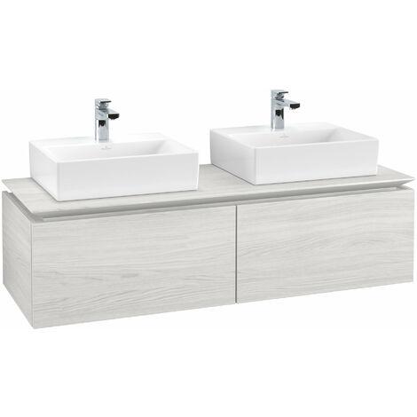 Mueble de tocador Villeroy & Boch Legato B143, 1400x380x500mm, 2 lavabos, color: madera blanca - B14300E8