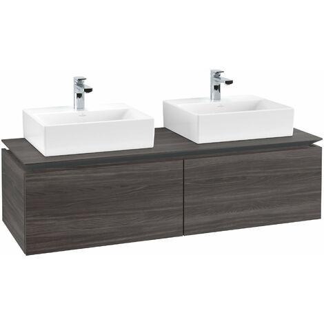 Mueble de tocador Villeroy & Boch Legato B143, 1400x380x500mm, 2 lavabos, color: Roble Grafito - B14300FQ