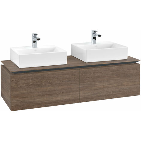 Mueble de tocador Villeroy & Boch Legato B143, 1400x380x500mm, 2 lavabos, color: Roble Santana - B14300E1