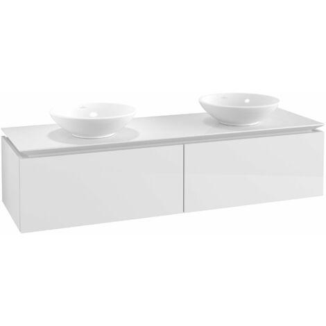 Mueble de tocador Villeroy & Boch Legato B145, 1600x380x500mm, 2 lavabos, color: Blanco brillante - B14500DH