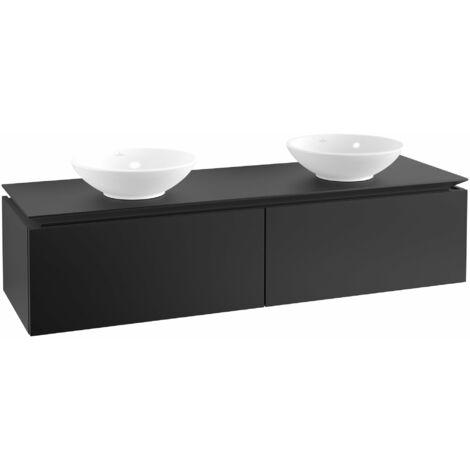 Mueble de tocador Villeroy & Boch Legato B145, 1600x380x500mm, 2 lavabos, color: Negro Mate Laca - B14500PD