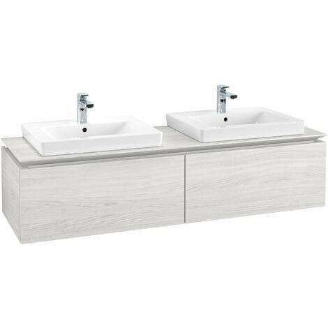 Mueble de tocador Villeroy & Boch Legato B14660, 1600x380x500mm, 2 lavabos, color: madera blanca - B14660E8