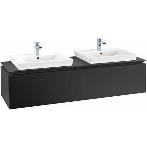 Mueble de tocador Villeroy & Boch Legato B14660, 1600x380x500mm, 2 lavabos, color: Negro Mate Laca - B14660PD