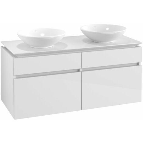 Mueble de tocador Villeroy & Boch Legato B148, 1200x550x500mm, 2 lavabos, color: Blanco brillante - B14800DH
